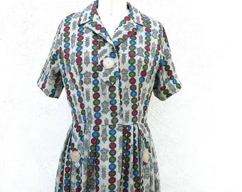 Mid Century Novelty Print Shirtwaist Dress Cotton Short Sleeve Frock