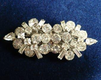 Vintage Duette Fur Clips Clear Rhinestone Brooch Pear Baguette Rhodium Plated