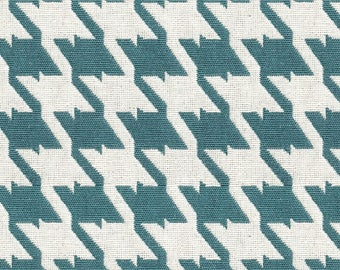 Houndstooth Upholstery Fabric - Coordinated Fabrics for Home Furnishings - Houndstooth Fabric - Color:  Bohemian Sea Breeze - Per yard