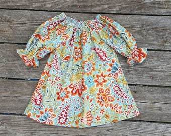 Fall Girl's Infants Toddler Sage Green and Rusty Harvest Paisley Print Peasant Dress