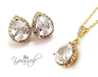Gold Bridal Earrings White Crystal Teardrop Bridal Studs Cubic Zirconia Bride Necklace Wedding Jewelry CZ Bridesmaid Gift Sterling Earrings