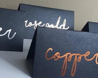Foil Placecards with Gold Foil, Silver Foil, Rose Gold Foil, Copper Foil