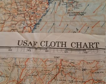 Unique Rare USAF Cloth Chart, Lithographed Silk Map, Double Sided, Parachutist Map, Thailand (Siam), Northern Philippines