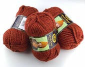 Lion Brand Thick & Quick, Chunky Red Yarn, Yarn De-Stash, Spice