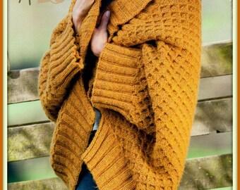 PDF Knitting Pattern - Ladies Aran Shawl Collar Wrap - Instant Download