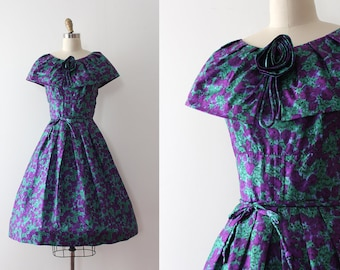 vintage 1950s Jerry Gilden dress // 50s purple and green silk floral dress with belt