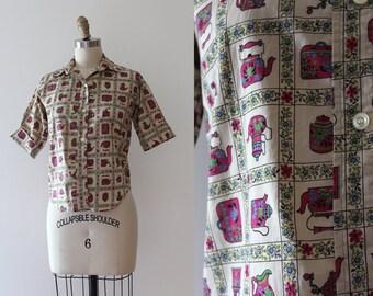 vintage 1950s blouse // 50s novelty teapot top