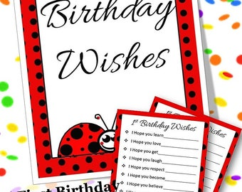 First Birthday Alternative Guest Sign In, Lady Bug First Birthday Party Sign, DIY Guest Sign, First Birthday Guest Sign, Instant Download