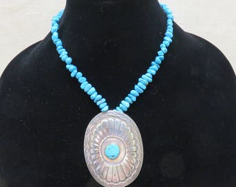 Sterling Native American Concho Necklace, Turquoise Stone Necklace