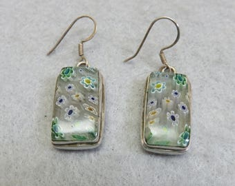 Clear Millefiori Glass Pierced Sterling Earrings, Vintage