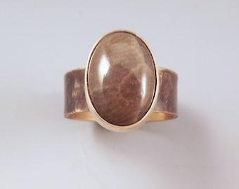 Michigan Petoskey Stone- Michigan State Stone- Fossil- Adjustable- By Red Paw- Smoky Bronze- Petoskey Ring
