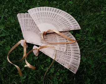 Rustic Wedding Favors, Wood Lace Asian Fans, Personalized Hand Fans, RESERVED LISTING 30 Fans