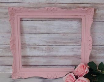 Pink Picture Frame, Vintage Wall Decor, Shabby Cottage, Paris Chic, Girl's Nursery, Savannah's Cottage