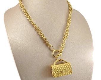 Authentic CHANEL Vintage Early 1980s Couture Runway Classic 2.55 Handbag Double Chain Necklace