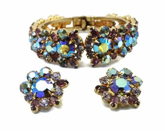 Vintage D&E Juliana Purple AB Rhinestone Hinged Clamper Bracelet and Earrings Set - Book Piece!