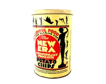 Vintage New Era Scientifically Processed Potato Chip Tin (c.1950s) - Collectible, Unique Storage Tin