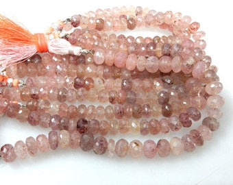 5 Strands Natural Strawberry Quartz Gemstone Faceted Rondelle Beads 8'' Size 7 to 9MM Approx 100% Natural