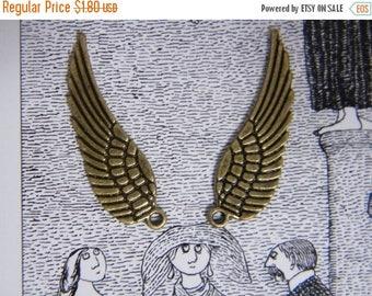ON SALE 6 x Antiqued Bronze Angel Wings Bronze Tone Wings Necklace Earring Bracelet Charms 30 mm x 9mm