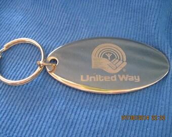Vintage Gold Large Oval UNITED WAY Keychain....#6457...
