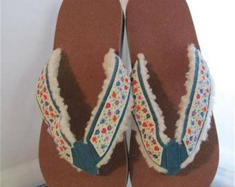 Flip-Flops Beaded....Turquoise...Small...Hand Made...One Of A Kind...Never To Be Duplicated