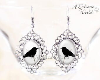 Crow Gothic Earrings - Raven Silhouette Jewelry, Dangle Earrings Silver, Silver Crow Earrings, Gothic Crow Jewelry, Silver Bird Jewelry