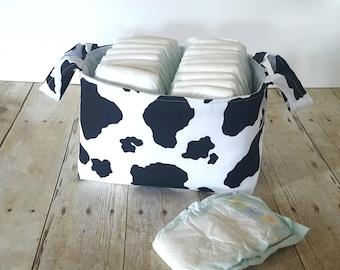 Fabric Storage Basket - Diaper Caddy -New Baby Gift - Gender Neutral - Storage Basket - Cow Print Storage - Farm Nursery Decor- Toy Storage