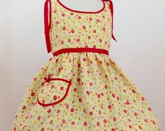 Girl's Sunshine & Flowers Sundress, Vintage Style, Summer Sundress