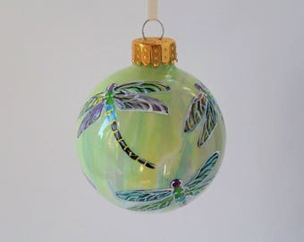 Hand painted Christmas ornament, dragonfly ornament, pastel colors # 381