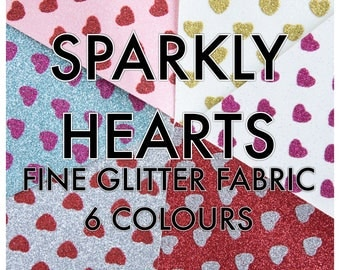 Sparkly Hearts Fine Glitter Fabric A4 sheet