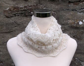 Hand knitted  off white lace infinity cowl / neckwarmer / snood. Gothic spires. Wedding accessory. Baby Alpaca