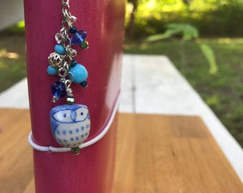 Owl beaded travelers journal charm Dangle for planner, purse, or cell phone