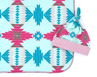 Organic Cotton Swaddle Blanket, Newborn Girl Blanket, Tribal Aztec Baby Shower Gift, Modern Baby Blanket and Hat Set, Eco Nursing Cover Up
