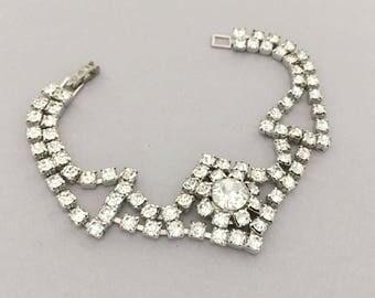 Vintage Rhinestone Jewelry Bridal Bracelet, Clear Rhinestone Bracelet, Bridesmaid Bracelet, Wedding Jewelry Bracelet, 1950s Womens Bracelet