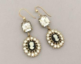 Downton Abbey Rhinestone Earrings - Vintage Assemblage Dangle Earrings - Rhinestone Cameo Earrings - Womens Pierced Earrings Gift for Mom