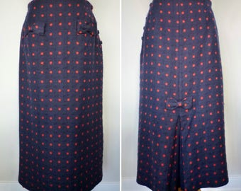 Vintage 80s does 40s Polka Dot Wool Skirt Maxi Skirt by Cullinane Size 12