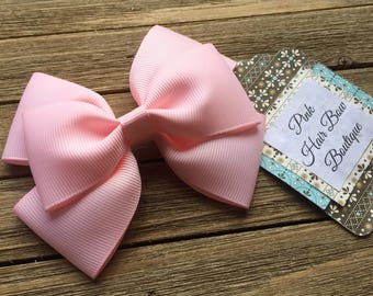 Baby pink hair bow , 4 inch hair bow , light pink boutique hair bow , toddler hair bow , hair bows for girls