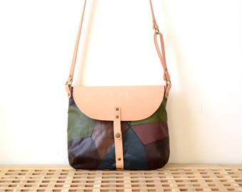 Hand-painted Color Block Canvas & Leather Saddle Bag, Customizable Personalized Gift For Her, Wife Girlfriend Gift, Unique, Color Block Bag