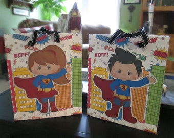 Superboy and Supergirl Large Favor Bags Set of 12 with Free Shipping