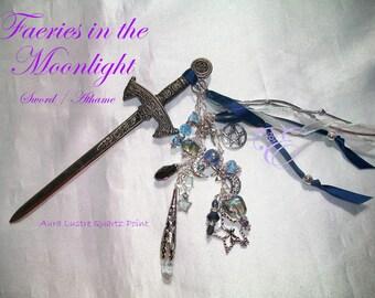 Faeries in the Moonlight  / Fairy Sword/Athame - Aura Lustre Quartz Point