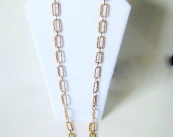 Crown Trifari Necklace, Vintage Gold Tone Link Neckace, Fashion Jewelry