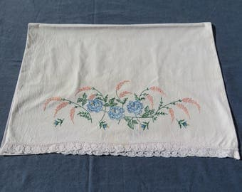 Vintage Embroidered Pillowcase White Cotton Blue Floral Embroidery