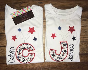 Boys or Girls Personalized Applique Fourth of July Initial Firework onesie or tshirt