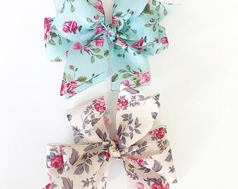 Tycam Handmade Floral Print Hairbow (set of two)