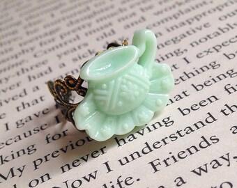 Tea Cup Ring - Kawaii, Mint Green, Tea Party, Alice in Wonderland, Mad Hatter, Romantic