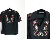 Vintage Embroidered Black Gypsy Blouse