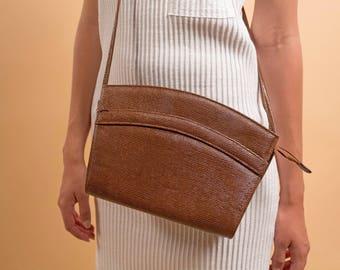Envelope Purse / Faux Alligator Purse / Shoulder Purse / Cross Body Bag / Vintage 80s Purse