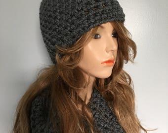 Crochet Bulky Neckwarmer and Beanie Set - CHARCOAL