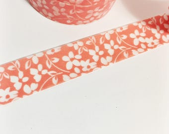 Bright Coral Orange Washi With Opaque White Floral Flowers Washi Tape 11 yards 10 meters 15mm