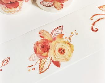Gorgeous Watercolor Painted Red Orange Yellow Floral and Lace Washi Tape 5.5 yards 5 meters 40mm