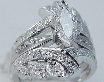 ON SALE Vintage 14K White Gold 1.58cttw Diamonds Engagement Ring Wrap Cage Guard Set